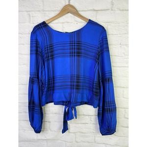 🌵Wild Fable Cropped Plaid Blue/Black Open Back